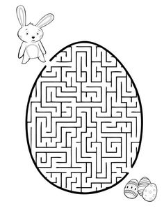 Grab this printable Easter maze along with 30 other Easter coloring pages! Let your kids be excited by the creative games and cut outs. Easter Egg Coloring Pages, Colouring Pages, Coloring Pages For Kids, Printable Mazes, Free Printable Coloring Pages, Kids Activity Center, Maze Worksheet, Worksheets, Dots Game