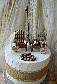Fishing Lake House Cabin Themed Wedding Cake Topper Groom Bride And Fisherman Wood Adirondack Pole Camping Hunt Chairs