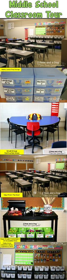 Find great ideas for setting up your middle school classroom in this classroom tour blog post from the 2 Peas and a Dog blog.