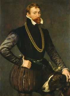 Anthonis_Mor Portrait of a Gentleman with a hunting dog. 1569 the dog is much cooler and better looking
