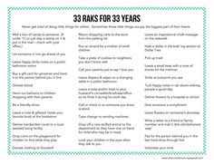 33 Random Acts of Kindness for 33 years -- celebrate your birthday by sharing with other