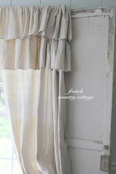 FRENCH COUNTRY COTTAGE: Double Ruffle Drop Cloth Panels--Evies new curtains?
