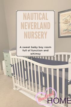 Learn how to re-use items on hand to create a whole new look for new baby nursery full of whimsy. Nautical Theme Nursery, Coastal Nursery, Nursery Neutral, Nursery Themes, Coastal Decor, Neverland Nursery, Organic Cotton Sheets, Playroom Decor, Baby Boy Rooms