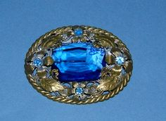 1930s Gold Metal Brooch Decorated with Blue by BiminiCricket, $85.00