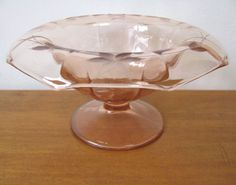 Vintage Etched Pink Glass Candy Dish or Compote at WhimsicalVintage Exclusively on Ruby Lane