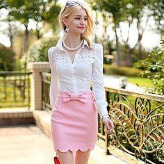 Skirt Lace Women's Doll® Shirt Collar Elegant Pink Ol Piping g8qX65wFx