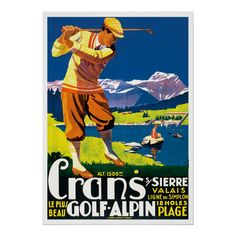 Shop Vintage Golf in Switzerland Poster created by Retro_Art. Personalize it with photos & text or purchase as is! Golf Humor, Golf Knickers, Golf Mk4, Vintage Golf, Texas, Golf Fashion, Retro Art, Vintage Travel Posters, Golf Outfit