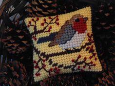 Autumn Bird Needlepoint Mini Pillow Autumn by BunniesMadeOfBread