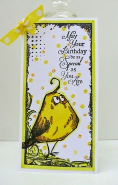 Skinny card with Tim Holtz Crazy Bird, made by Alie Hoogenboezem-de Vries