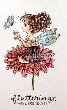 My latest GDT creation using Conie Fong - Flutterby Daisy Left Hand Coloring, Coloring Books, Coloring Pages, 5 Image, Fantasy Landscape, How To Make Paper, Girl Face, Digital Stamps, Digital Image