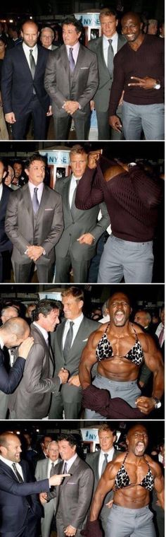 Lol Terry Crews is such a nut. Good to see him, Lundgren, Statham, and Stallone having a good time lol. All awesome guys. Terry Crews, Haha Funny, Funny Cute, Funny Memes, Funny Stuff, Funny Man, That's Hilarious, Funniest Memes, Funny Gifs