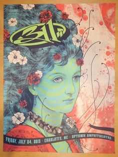 "311 - silkscreen concert poster (click image for more detail) Artist: Status Serigraph Venue: Uptown Amphitheatre Location: Charlotte, NC Concert Date: 7/24/2015 Size: 18"" x 24"" Edition: Artist editio"