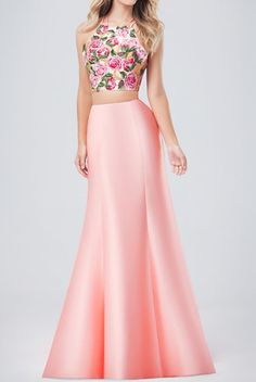 Val Stefani 3223RW Cascading Two Piece Floral Prom Dress | Poshare Two piece mikado mermaid with embroidery on the crop top and down the back of the skirt Perfect for prom, homecoming, formals, or social occasions.