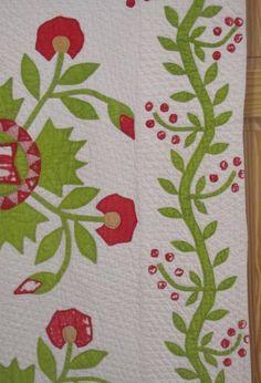 Detail, Antique 1800s Whig Rose Applique Quilt Red Green Vines Berries Kelius Estate | eBay , gb-best