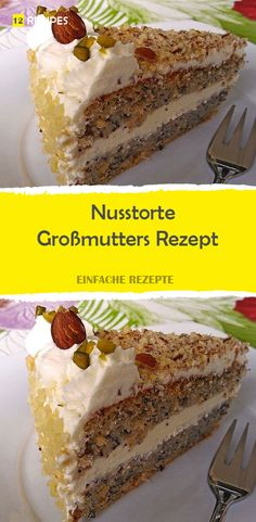 Nut cake - Grandma& Nusstorte – Großmutters Rezept Ingredients: for the dough: 200 g sugar 10 egg yolks 250 g nuts, ground 3 tablespoons breadcrumbs a bit bitter almond flavor 10 protein 150 g sugar for the filling: - Easy Cheesecake Recipes, Dessert Recipes, Easter Cheesecake, Cheesecake Cookies, Baking Desserts, Baking Recipes, Food Cakes, Free Fruit, Flaky Pastry