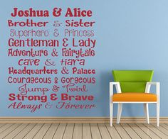 Personalised Brother & Sister Quote Vinyl Wall Art Sticker