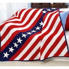 Stripes 'N Stars Crochet Afghan Kit - Herrschners #USA #Patriotic