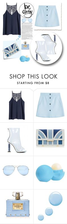 """""""Untitled #242"""" by mgadom ❤ liked on Polyvore featuring Paul & Joe, Post-It, Aperlaï, GUESS, Eos, Versace and Topshop"""