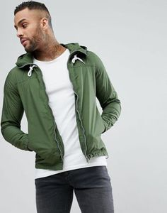 86961883277a06 Pull Bear Zip Through Hooded Jacket In Khaki