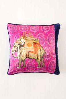 """Goodearth - Benares Haathi Rayon Cotton Cushion - Falsa 18"""" x 18"""""""