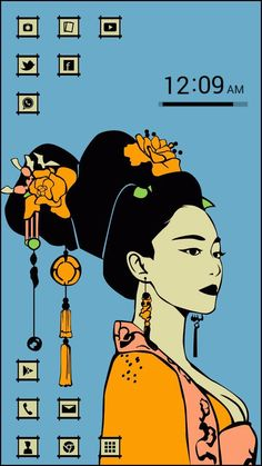[Homepack Buzz] Consultez ce super écran accueil! Sean Cha   1. Sean's art work Northeast asian girl theme  pop art illust    Illusted by Sean Cha    #pop art #illust #asia #asian # asian girl  #traditional #tradition #illust #china  #korea #japan