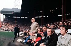 Shankly watches from the Liverpool bench during a match in the 1970s