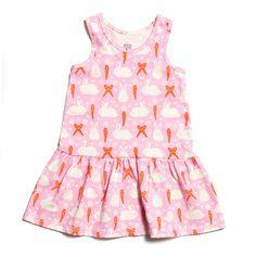 Valencia Dress - Bunnies & Carrots Pink