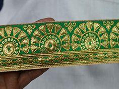 Sewing Trims Initiative Indian Embroidered Prom Dress Border 9 Yd Trim Green Craft Lace Zari Gota Patti