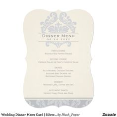 Wedding Dinner Menu Card | Silver and Ivory