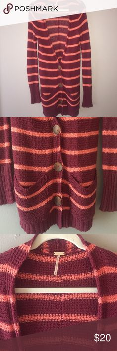 Free People hand woven sweater cardigan Long cardigan can be worn open or buttoned, perfect for layering, I have maybe worn this 2-3 times. It is in near perfect condition Free People Sweaters Cardigans