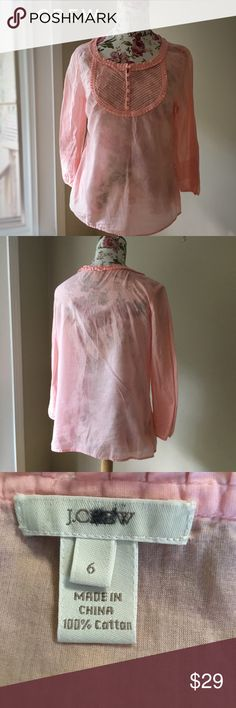 JCREW sheer blouse JCREW popover blouse- pale pink and sheer! EUC! Great bib neckline and 3/4 length sleeves- 100% cotton! J. Crew Tops Blouses