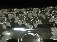 Mikasa Crystal Banana Bowl Vintage Large Frosted Glass Embossed Flowers Petals #Mikasa