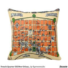 French Quarter Old New Orleans Map Throw Pillows