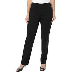 Comfort and style collide in these pull-on pants by Counterparts. These slenderizing pants feature a tummy trimming panel for a smooth silhouette.  Easy...