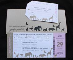 Pink  Tan Animals Zoo Ticket Wedding Invitations