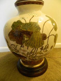 VINTAGE FREDERICK COOPER CRACKLE GLAZE GINGER JAR LAMP W/ SHADE WILD BIRDS