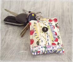 Cherries miniature fabric collage keychain Boho by sewingfairydust