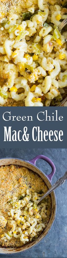 could make mac & cheese even better? Taking it on a southwestern spin with roasted green chiles, corn, and jack cheese! Green Chile Mac And Cheese Recipe, Hatch Green Chili Recipe, Green Chili Recipes, Hatch Chili, Chili Mac And Cheese, Mac Cheese, Mexican Food Recipes, Vegetarian Recipes, Cheese Food