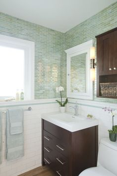1 x 4 Vihara glass tiles in color Wabi from Sonoma Tilemaker