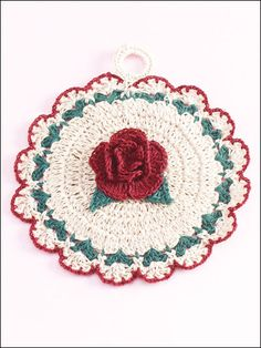 Don't like pinning things that are for sale, but this is SO pretty. Not that hard to figure out either, but i'd be hard pressed to use it as a pot scrubber!    ***    Crochet - Christmas Rose Pot Holder - #EAC0684