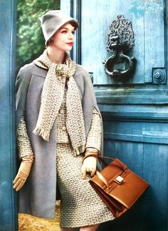 Suit and woolen cape by Manguin, bag by Ferest, 1958