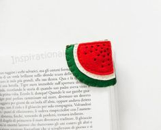 Watermelon slice Felt Bookmark, corner bookmark for book lovers, funny embroidered bookmark, back to school gift