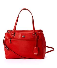 Look at this Coach Red Peyton Jordan Leather Shoulder Bag on #zulily today!