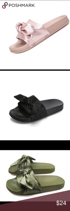 Silk bow slides Women's slippers available in black,gray,green,pink Shoes Sandals