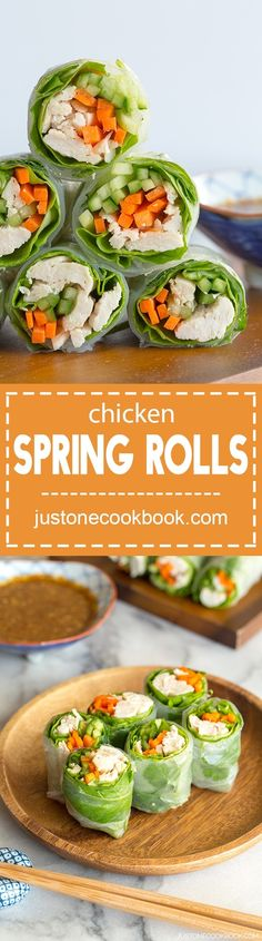 Chicken Spring Rolls バンバンジーの生春巻き - These Chicken Spring Rolls are one of my favorite foods for a summer lunch. Heaps of refreshing vegetables, fresh mint, and chicken, all wrapped up in rice paper rolls and ready to dip in a delicious, savory sesame sauce. #asianrecipes #appetizers #partyfood #lunchideas #lunchrecipes #springrollrecipechicken #asianfood #asiansalad | Easy Japanese Recipes at JustOneCookbook.com Easy Japanese Recipes, Asian Recipes, Ethnic Recipes, Chinese Recipes, Chinese Desserts, Asian Foods, Mexican Recipes, Chinese Food, My Favorite Food