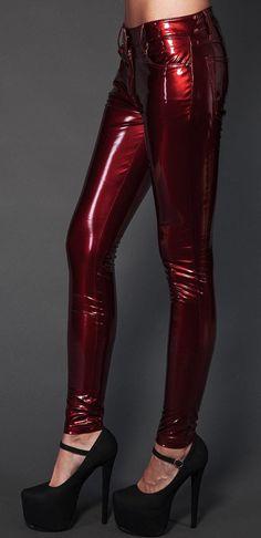 Lip Service Girls vinyl Sucker Lackhose PVC Pants Red Pants Vinyl PVC Gothic | eBay