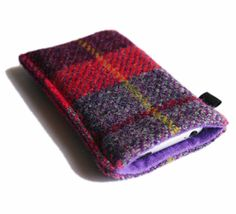I Love Handmade: Slim iPhone Case in Purple, Red and Burgundy Tartan Harris Tweed by Yana K Crafts
