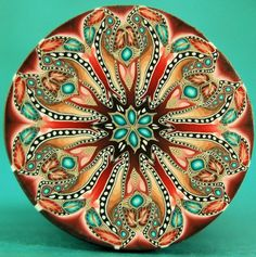LARGE Polymer Clay Kaleidoscope Circle Cane - 'Renewal' series