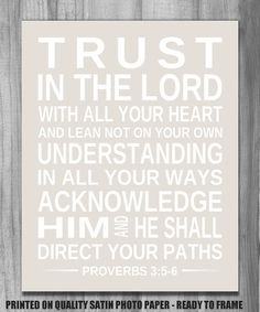 Inspirational Print BIBLE VERSE Trust in the Lord Proverbs 3:5-6 Scripture Art Subway Typography Home Decor Modern Art CUSTOM