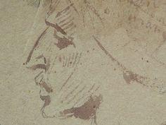 CHASSERIAU Théodore,1846 - Arabes - drawing - Détail 11 - Visage mélancolique, de profil - Melancholic face, in profil -